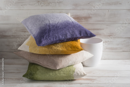 Poszter Stack of Four Throw Pillows of Different Gradient Colors