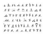 Fototapety Black sports icons set. Vector figures athletes.