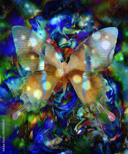 Keuken foto achterwand Vlinders in Grunge illustration of a butterfly, mixed medium, abstract color background. and circle bokeh, blue, black and white color