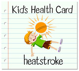 Health card with boy having heat stroke