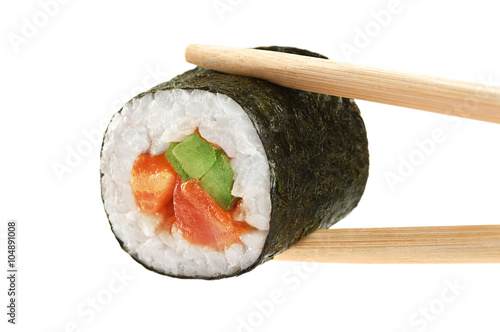 Sushi rolls with avocado, salmon and spicy sauce. Chopsticks. Poster