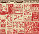 Mega pack retro advertisement designs and labels - Vector illust