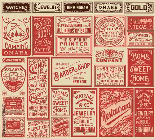 Fototapeta Mega pack retro advertisement designs and labels - Vector illust
