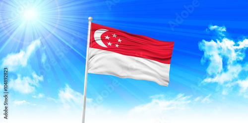 Zdjęcia na płótnie, fototapety, obrazy : シンガポール  国旗 空 背景