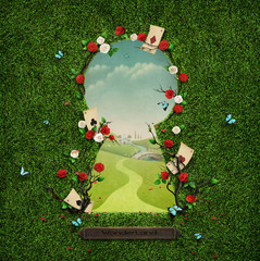 Beautiful green background with roses and cards in keyhole