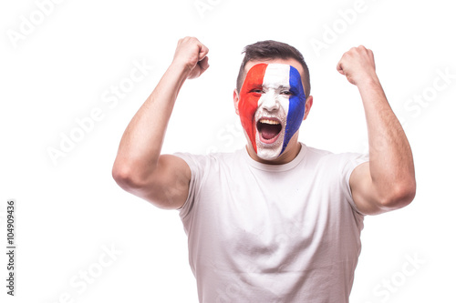 Happy screaming  France football fan of fortune win of the match of France national  team Poster