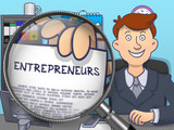Entrepreneurs through Magnifying Glass. Doodle Design.