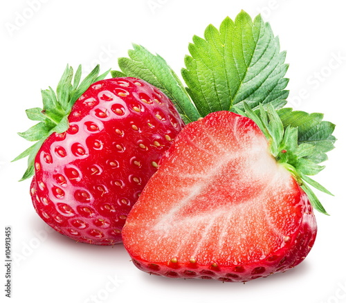 Strawberries on the white background.