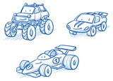 Cute set of vehicles, racing cars, monster truck. Hand drawn vector cartoon doodle illustration