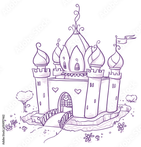 Cute romantic flower princess or magic fairy castle. Hand drawn vector cartoon doodle illustration