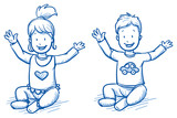 Cute little girl and boy sitting and lifting their arms happily. Hand drawn cartoon doodle vector illustration.