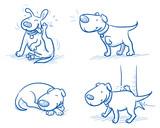 Cute Cartoon Dog Set Sleeping Scratching Peeing Listening Hand Drawn Doodle  Illustration Wall Sticker