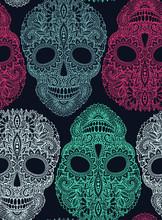 Ręcznie rysowane bez szwu wzór z ludzkich czaszek w ozdobnym stylu