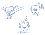 Cute happy cartoon tooth being cleaned with brush, and water, showing thumb up. Hand drawn line art cartoon vector illustration. - 104919210