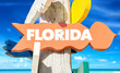 Florida sign with beach background