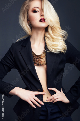 Poszter fashion studio photo of gorgeous woman with blond  hair wears bl