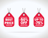 Sale tag vector isolated. Sale sticker with special advertisement offer. Best price tag. Half price tag.  - 104925031
