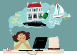 Smiling cartoon woman dreaming about money and expensive things, EPS 8 vector illustration - 104928471