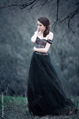 1d084270d782 Beautiful girl with long hair standing in a black dress standing on the  gothic background blowers