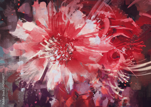 Juliste beautiful autumn flowers,old painting style