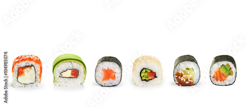 Staande foto Sushi bar Sushi rolls isolated on white background.