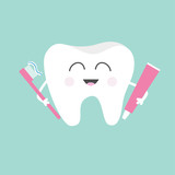 Fototapety Tooth holding toothpaste and toothbrush. Cute funny cartoon smiling character. Children teeth care icon. Oral dental hygiene. Tooth health. Baby background. Flat design.