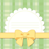 postcard with pretty bow, banner, vector illustration on pattern in a cage