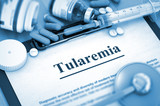 Tularemia, Medical Concept with Pills, Injections and Syringe. Tularemia - Printed Diagnosis with Blurred Text. 3D.