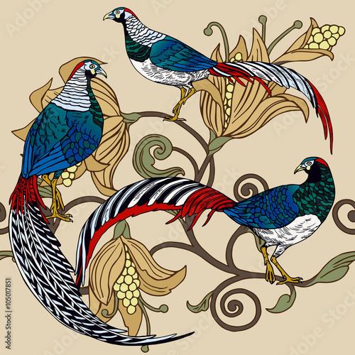 Fototapeta Vintage antique background, fashion seamless pattern with birds