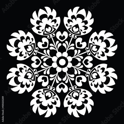 Fototapeta Polish round white folk art pattern - Wzory Lowickie, Wycinanka