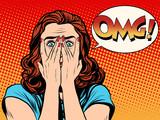 Fototapety Surprised OMG shocked woman