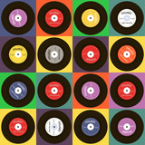 Seamless vector texture with musical plates. Disco retro pattern. Colorful vintage background