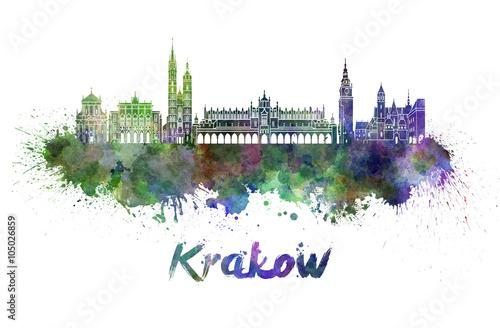 Krakow skyline in watercolor