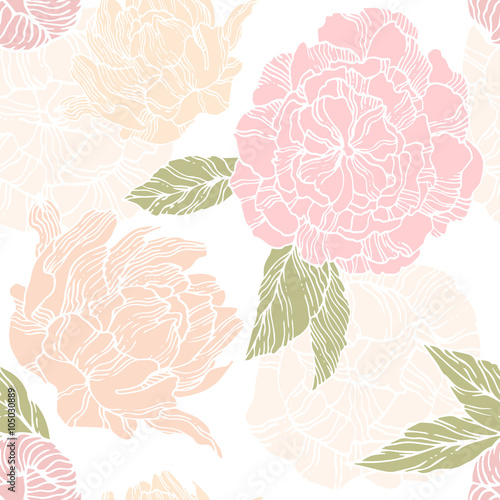 Cotton fabric Seamless pattern with blossom and flower bud of peonies