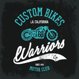 Vintage American motorcycle old grunge effect tee print vector design. Premium quality superior bike retro logo concept. Motor club shabby t-shirt and hoodie emblem.
