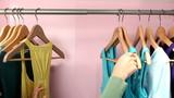 Closeup of girl looking at clothing