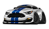 American Muscle Car cartoon illustration. White with blue racing stripes, aggressive stance, big tires and rims. Very sharp, clean lines, a crisp illustration.