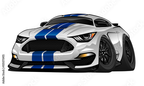 Aluminium Auto American Muscle Car cartoon vector illustration. White with blue racing stripes, aggressive stance, big tires and rims. Very sharp, clean lines, a crisp illustration.