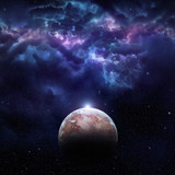 Cosmos scene with planet, nebula and stars in space