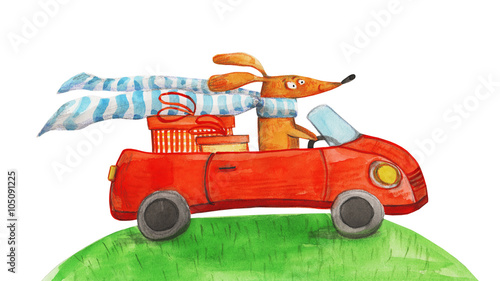 Dog with gifts in car. Watercolor illustration - 105091225