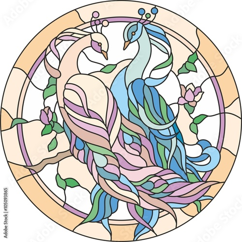 Naklejka stained glass window couple peacock