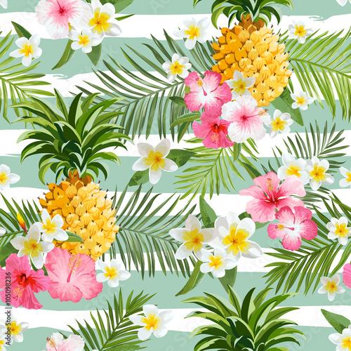 ananasy-i-tropikalny-kwiat-geometrii-tlo-rocznika-bezszwowy-wzor