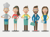 Restaurant service. Set of people icons in flat style