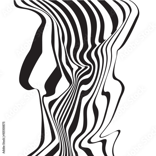optical art opart striped wavy background abstract waves black and white © am54