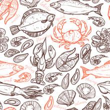 Modelo con los elementos dibujados a mano de marisco con langosta, pulpo, calamar, salmón, lenguado, cangrejos, mejillones, ostras y camarones en el fondo blanco