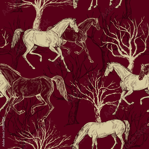 Vintage beautiful background with horses and trees - 105117254