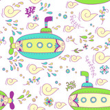 Sea adventure. seamless pattern