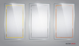Set of rectangle glass frames with gold, silver and brown strips. - 105122657
