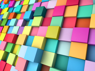 Abstract background of multi-colored cubes