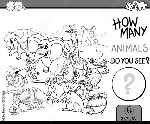 count animals coloring book